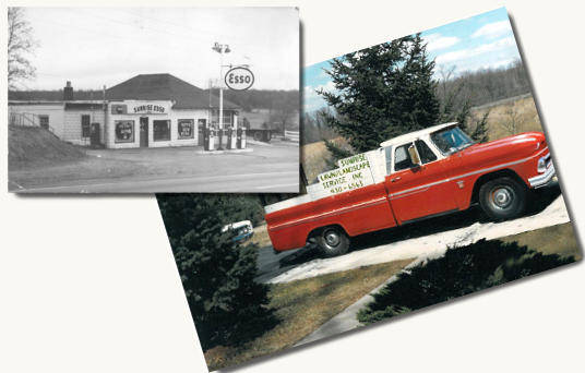 old red farm pickup truck and old gas station