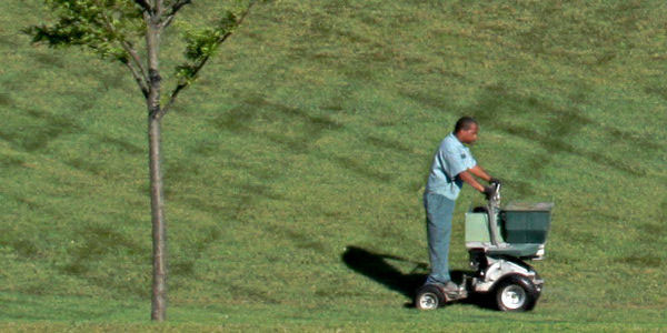 Man mowing a lawn in Great Falls, Virginia