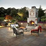 outdoor patio with lighting and fireplace northern virginia
