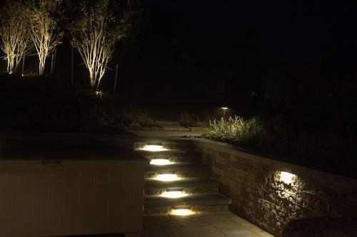 backyard design build at night with stone steps and tree landscape lighting northern virginia