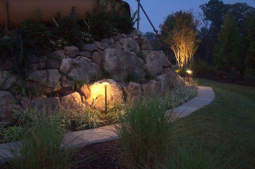 outdoor lighting on rock wall and walkway in great falls