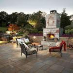 patio lighting with outdoor fireplace in northern virginia